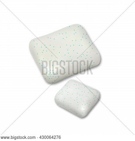 Chewing Gum Pieces For Refreshment Breath Vector. Mint Sweet Tasty Chewy Bubble Gum In Square Shape.
