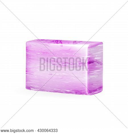 Soap Hand Made With Lavender Ingredient Vector. Handmade Organic Aromatic Blank Soap For Washing Arm