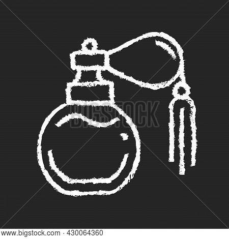 Vintage Perfume With Pump Chalk White Icon On Dark Background. Antique Scent Bottle. Classic Design