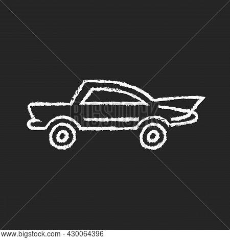 Classic Car Chalk White Icon On Dark Background. Nostalgic Value. Vintage Automobile. Original Produ