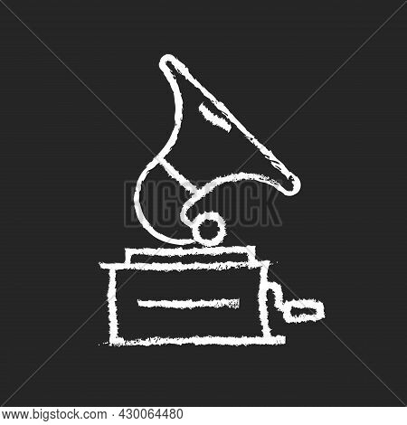 Gramophone Chalk White Icon On Dark Background. Phonograph Records. Device For Sound Reproduction. H