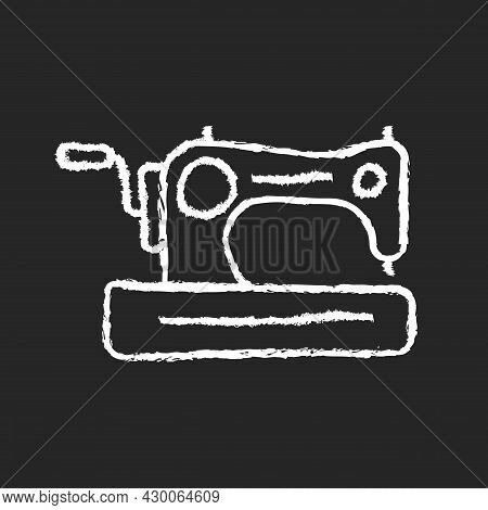 Antique Sewing Machine Chalk White Icon On Dark Background. Older Device For Stitching Material. Col