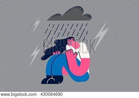Depression, Grief And Loneliness Concept. Young Sad Depressed Woman Sitting On Ground Crying With Ra