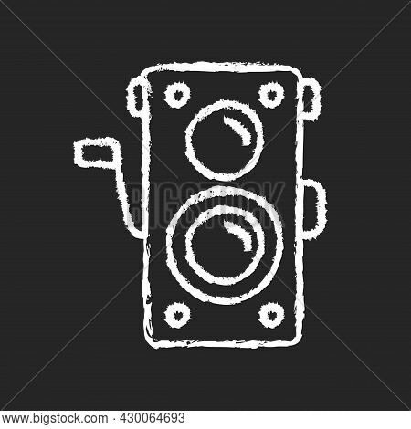 Old Photo Camera Chalk White Icon On Dark Background. Optical Instrument For Image Capturing. Vintag
