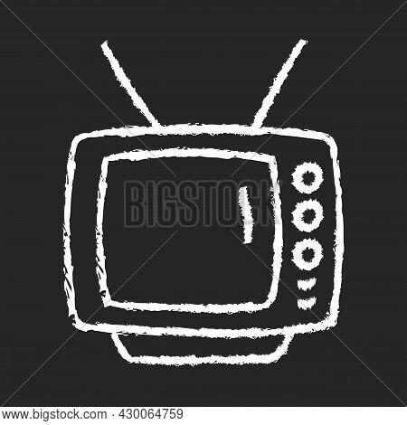 Old-style Television Chalk White Icon On Dark Background. Tv Older Model. Transmitting Moving Images