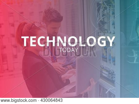 Composition of technology services text over people using laptop. technology services promotional communication concept digitally generated image.