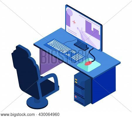 Isometric Gamer Setup Chair, Keyboard, Mouse Speaker Computer Display Tablet Table Isolated Vector I