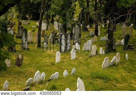 Mikulov, South Moravian Region, Czech Republic, 05 July 2021: Old Tombs At Historic Jewish Cemetery,