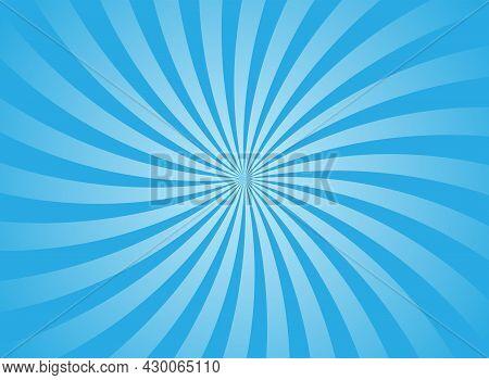 Sunlight Wide Horizontal Background. Bright Blue Color Burst Background. Vector Illustration. Sun Be