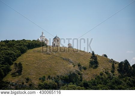 Mikulov, South Moravian Region, Czech Republic, 05 July 2021: White Baroque Chapel Of St. Sebastian