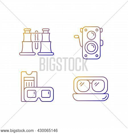 Authentic Vintage Gradient Linear Vector Icons Set. Collectible Binoculars. Old Photo Camera. Retro