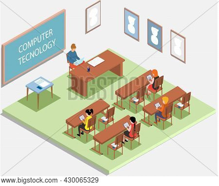 School Education Isometric Teacher And Pupil At Computer Technology Lesson. Learning Process In Clas