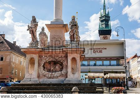 Znojmo, South Moravia, Czech Republic, 03 July 2021: Masaryk's Square At Sunny Summer Day, Baroque A