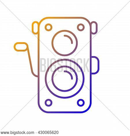 Old Photo Camera Gradient Linear Vector Icon. Optical Instrument For Visual Image Capturing. Vintage