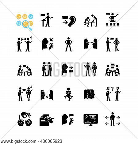 Communication Channel Black Glyph Icons Set On White Space. Body Language. Language Barriers. Eye Co