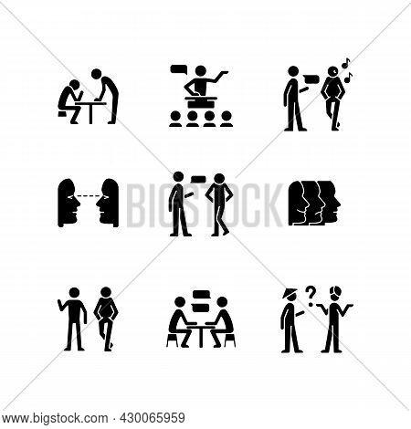 Communication Process Black Glyph Icons Set On White Space. Physical Behavior. Public Speech. Eye Co
