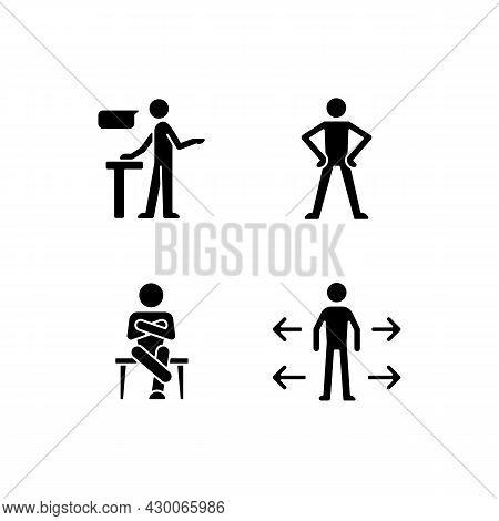 Communication Skills Black Glyph Icons Set On White Space. Confident Speaking. Confidence Body Langu
