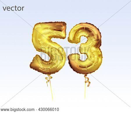 Elegant Greeting Celebration Fifty Three Years Birthday. Anniversary Number 53 Foil Gold Balloon. Ha