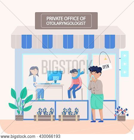 Otolaryngologist Doctor With Nose, Ear And Throat Or Ent Diagnostic And Treatment Instruments. Otolo
