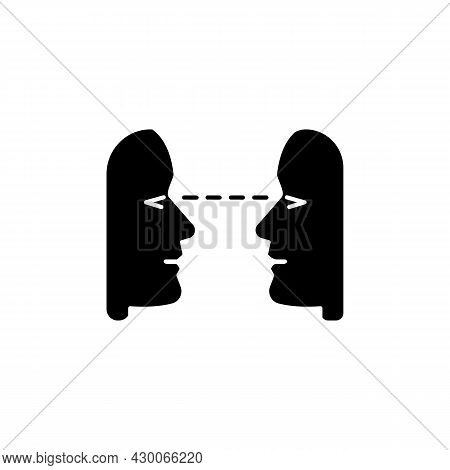 Eye Contact Black Glyph Icon. Nonverbal Communication. Building Connection With Listener, Speaker. S