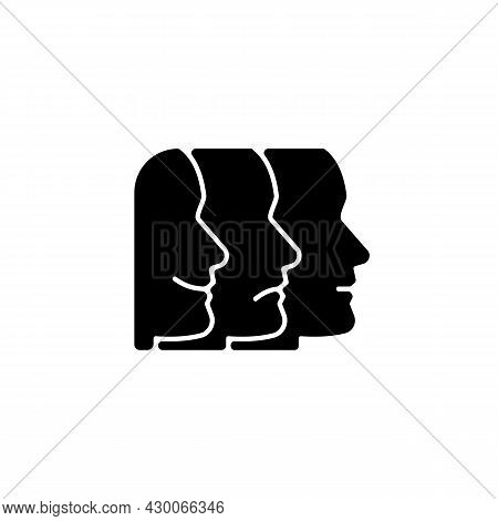 Facial Expressions Black Glyph Icon. Emotional States. Nonverbal Communication. Facial Movements Rec