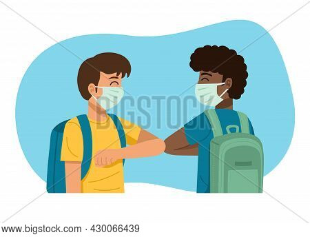 New Normal Concept. Kids In Medical Masks Bumping Elbows While Greeting Each Other. Vector Illustrat