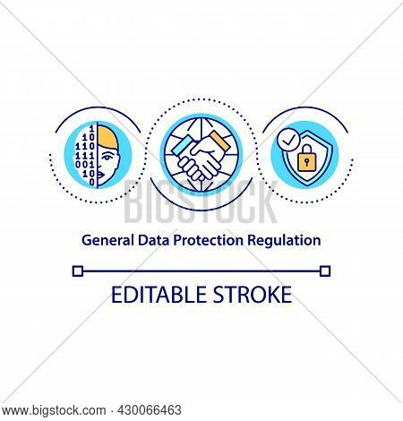 General Data Protection Regulation Concept Icon. Law Enforcement Abstract Idea Thin Line Illustratio