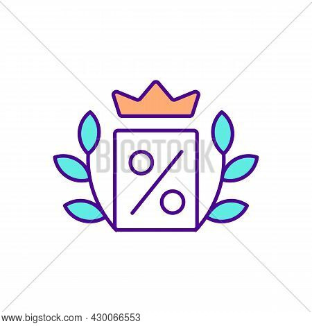 Crown And Discount Sign Rgb Color Icon. Premium Loyalty Program. Privilege Reward Program For Custom