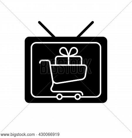 Shopping Show Black Glyph Icon. Teleshopping Program. Television Entertainment Series. Movie About S