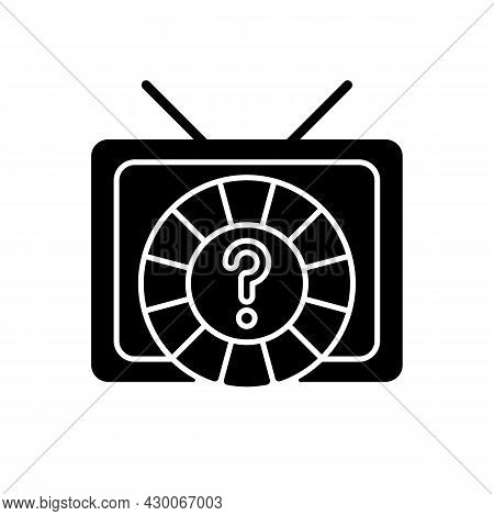 Game Show Black Glyph Icon. Broadcasting Television Program For Entertainment. Wheel Lottery For Cha