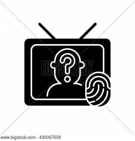 Online Investigation Show Black Glyph Icon. True Crime Series. Suspense And Thriller Cinema Genre On