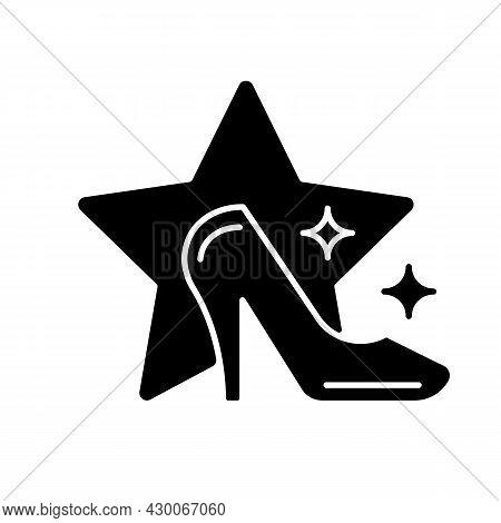 Fashion Show Black Glyph Icon. Runway Model Program Broadcasting. Television Entertainment Genre. Co
