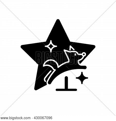 Pet Training Show Black Glyph Icon. Dog Tricks Competition. Doggy Exhibition. Animal Television Prog