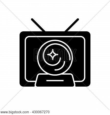 Mystic Show Black Glyph Icon. Mystery Series On Television Channel. Fun Tv Serial With Fantasy And M