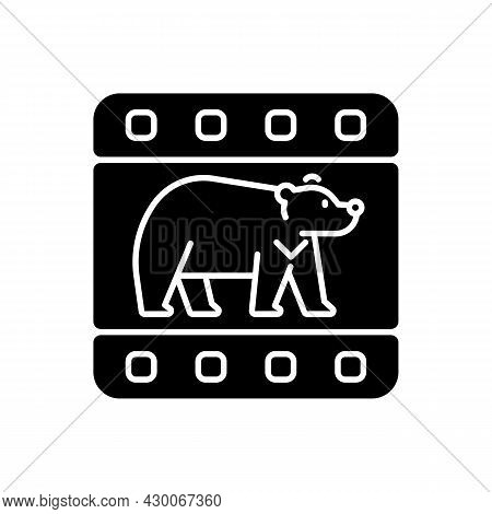 Wildlife Documentary Black Glyph Icon. Educational Television Series About Animals. Streaming Tv Sho