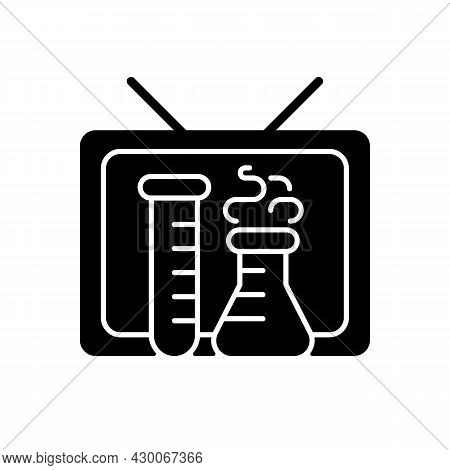 Scientific Show Black Glyph Icon. Educational Tv Series For Learning Science. Watching Chemistry Pro
