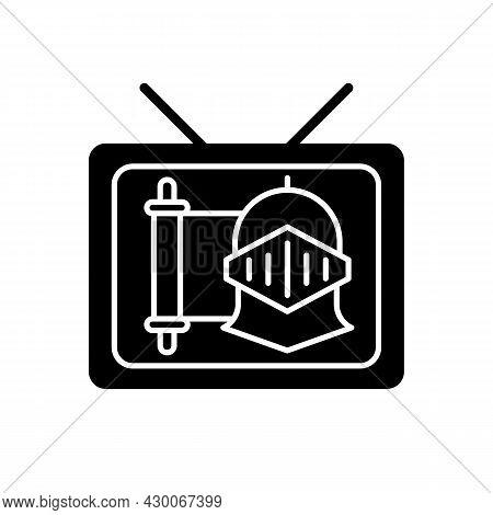 Historical Show Black Glyph Icon. Period Drama Tv Series. Streaming Service. Television Program Genr