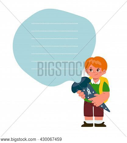 Shopping List For A School.small Boy Holding A Schultuete Cone And Looking On The List.german Tradit