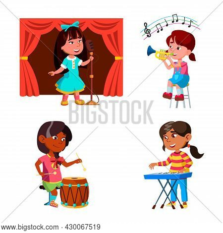 Kids Girls Playing Music Orchestra Set Vector. Kids Ladies Play On Drum, Piano Synthesizer And Trump