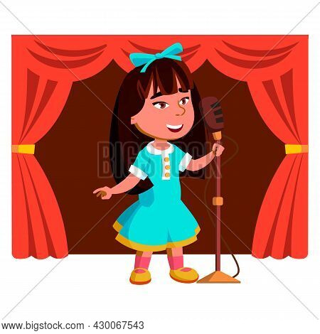 Girl Kid Singing Song On Theater Stage Vector. Asian Small Lady Singing In Microphone On Theatrical