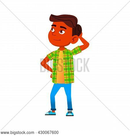 Preteen Boy Thinking For Solving Problem Vector. Indian Child Looking At Sky And Thinking About Some