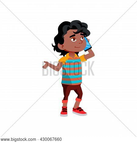 Boy Kid Calling And Talking On Smartphone Vector. African Child Call And Talk With Parents Or Friend