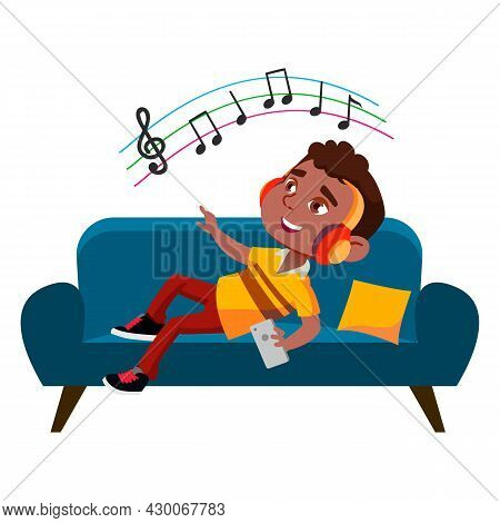 Boy Child Listening Music On Smartphone Vector. African Boy Laying On Sofa And Listen Melody On Smar