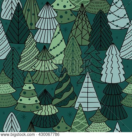 Christmas Seamless Pattern For Greeting Cards, Wrapping Papers. Doodle Christmas Trees.