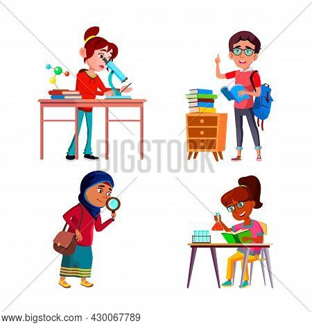 School Girls Scientist Researching Set Vector. Schoolgirls Scientist Analysis With Microscope And Ma