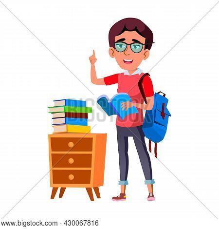 Schoolgirl Scientist Reading Education Book Vector. Caucasian School Girl Scientist Researching Educ