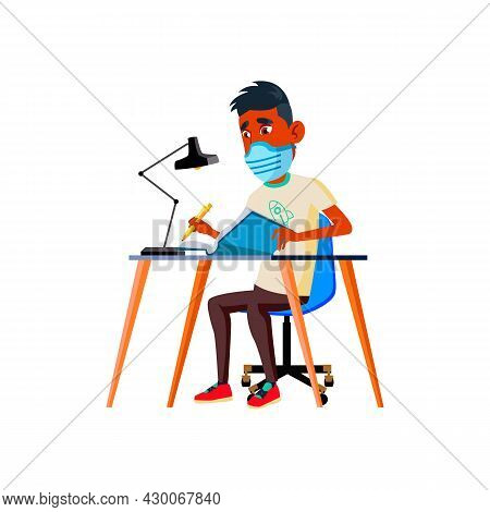 Teen Boy Wearing Facial Mask And Studying Vector. Teenager Wear Protective Face Mask Learning In Uni