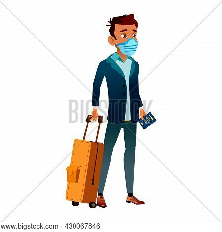 Teen Boy Wearing Facial Mask In Airport Vector. Teenager With Luggage Wear Protective Face Mask Stan