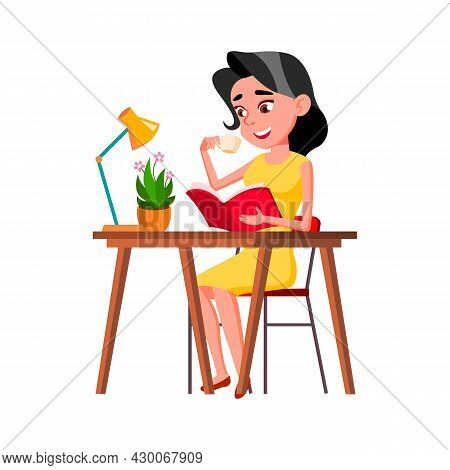 Teen Girl Reading Interesting Book At Table Vector. Teenager Lady Drinking Morning Energy Coffee And