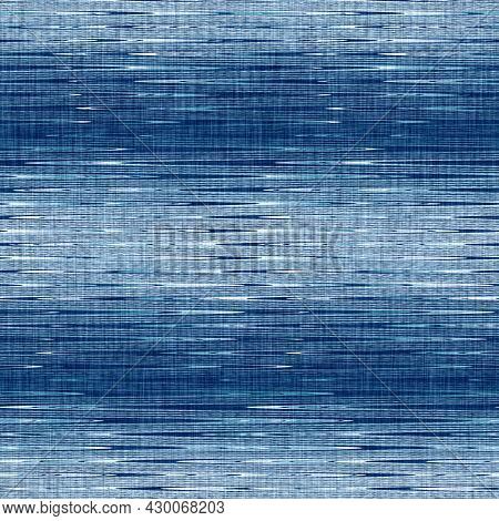 Classic Blue Woven Stripe Masculine Shirt Fabric Texture. Navy Space Dyed Marled Melange Background.